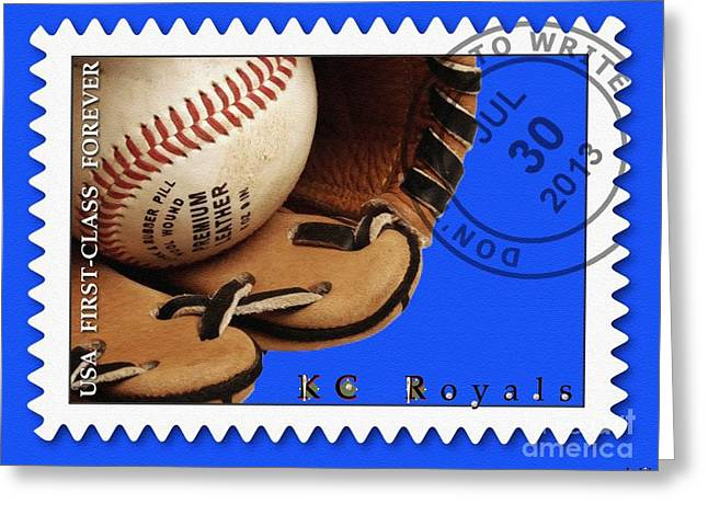 First-class Digital Art Greeting Cards - KC Royals Postage Stamp Poster Greeting Card by Liane Wright