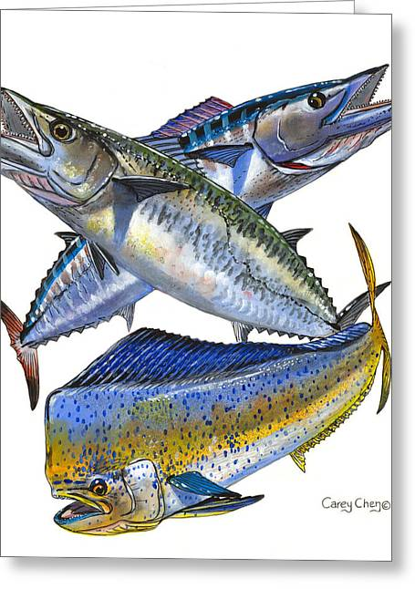 Salmon Paintings Greeting Cards - Kdw Greeting Card by Carey Chen