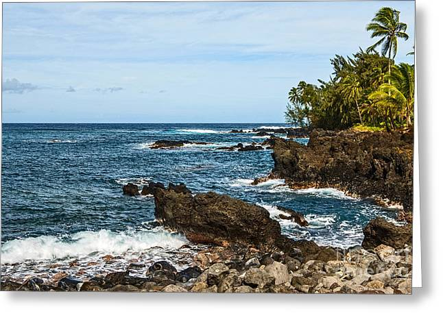 Spectacular Ocean Vistas Greeting Cards - Keanae Coast - the rugged volcanic coast of the Keanae Peninsula in Maui. Greeting Card by Jamie Pham