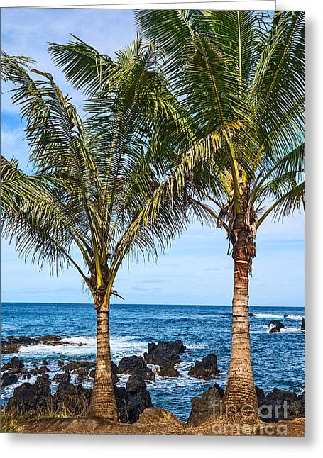 Spectacular Ocean Vistas Greeting Cards - Keanae Palms - the rugged volcanic coast of the Keanae Peninsula in Maui. Greeting Card by Jamie Pham