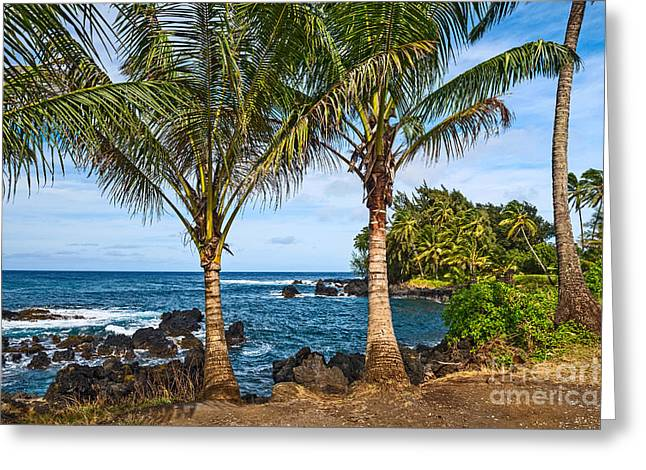 Spectacular Ocean Vistas Greeting Cards - Keanae Paradise - the rugged volcanic coast of the Keanae Peninsula in Maui. Greeting Card by Jamie Pham
