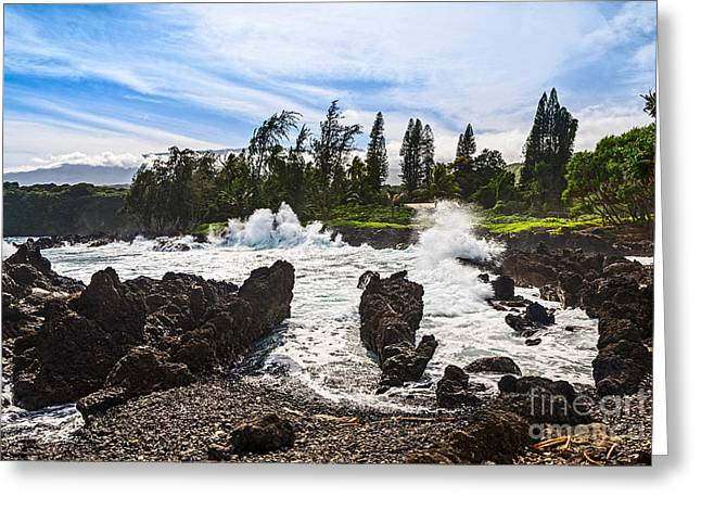 Spectacular Ocean Vistas Greeting Cards - Keanae Waves - the rugged volcanic coast of the Keanae Peninsula in Maui. Greeting Card by Jamie Pham