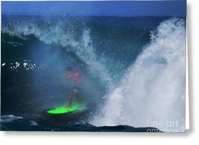 Keanu Greeting Cards - Keanu Asing Pro Surfer Barrel Greeting Card by Scott Cameron