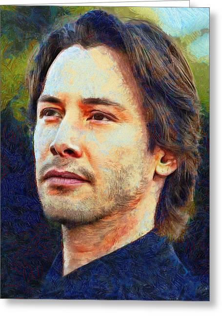 Recently Sold -  - Printmaking Greeting Cards - Keanu Reeves IV Greeting Card by Nikola Durdevic