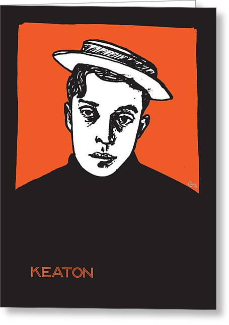 Award Mixed Media Greeting Cards - 1920s Buster Keaton Portrait Greeting Card by Cecely Bloom