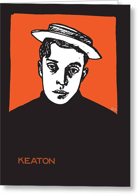 Comedian Mixed Media Greeting Cards - 1920s Buster Keaton Portrait Greeting Card by Cecely Bloom