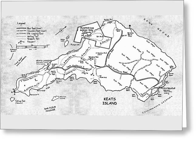 Island Mixed Media Greeting Cards - Keats Island Map - Canadian Island  Greeting Card by Sharon Cummings