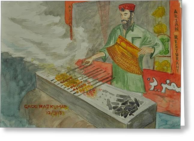 Kebab Maker Greeting Card by RajKumar Gade