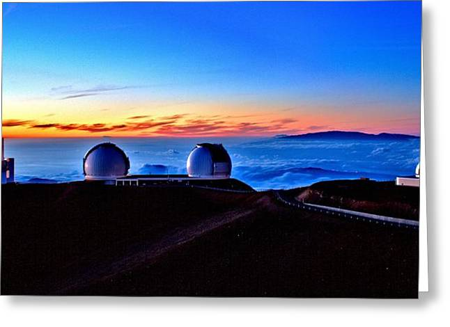 Keck At Sunset - Panoramic Greeting Card by Bob Kinnison