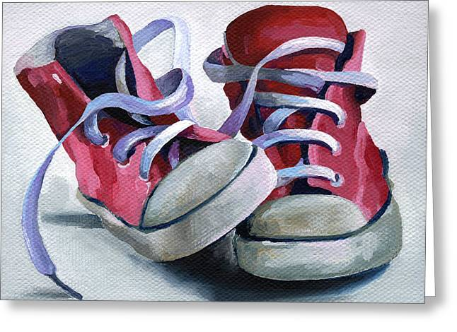 Red Shoe Greeting Cards - Keds Greeting Card by Natasha Denger