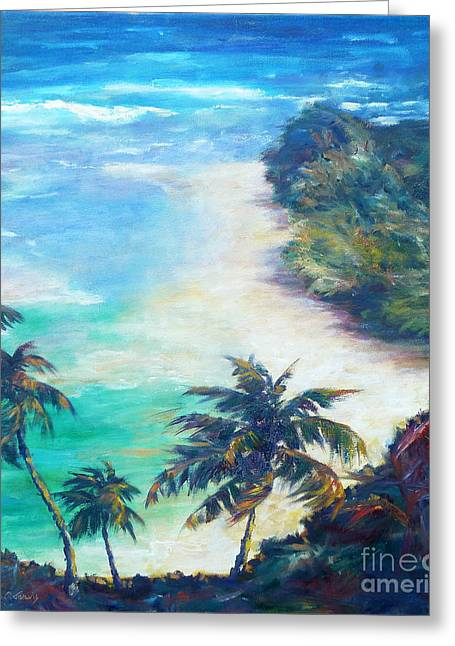 Seacape Greeting Cards - Kee Beach Greeting Card by Carolyn Jarvis