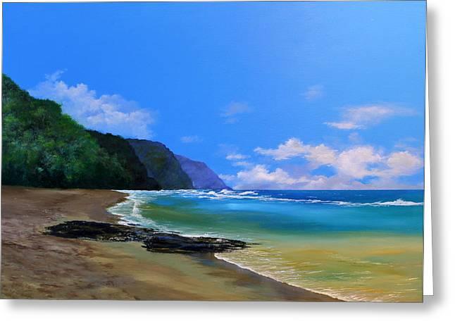 Ke'e Beach Kauai Greeting Card by Ken Ahlering