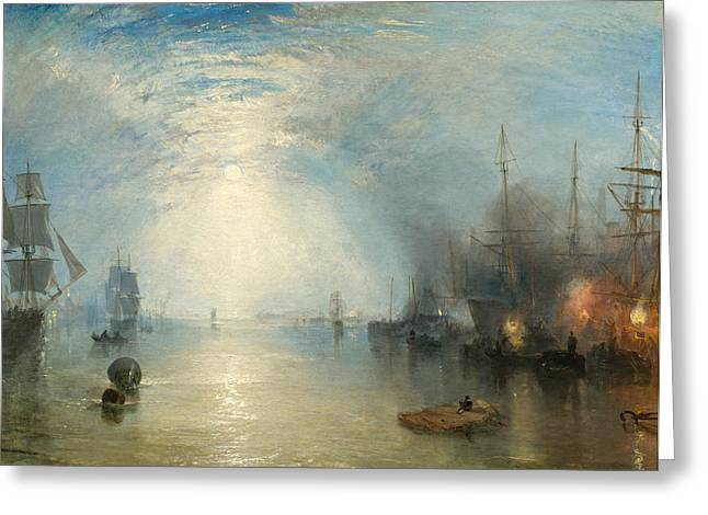 Boats In Harbor Greeting Cards - Keelmen Heaving in Coals by Moonlight Greeting Card by Joseph Mallord William Turner