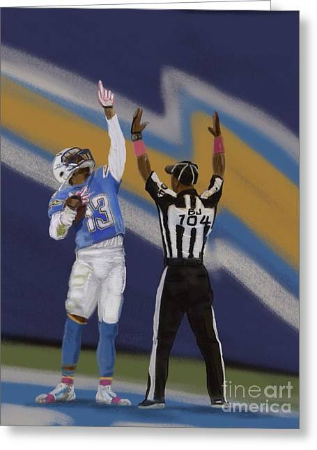 Offense Digital Art Greeting Cards - Keenan Allen Greeting Card by Jeremy Nash