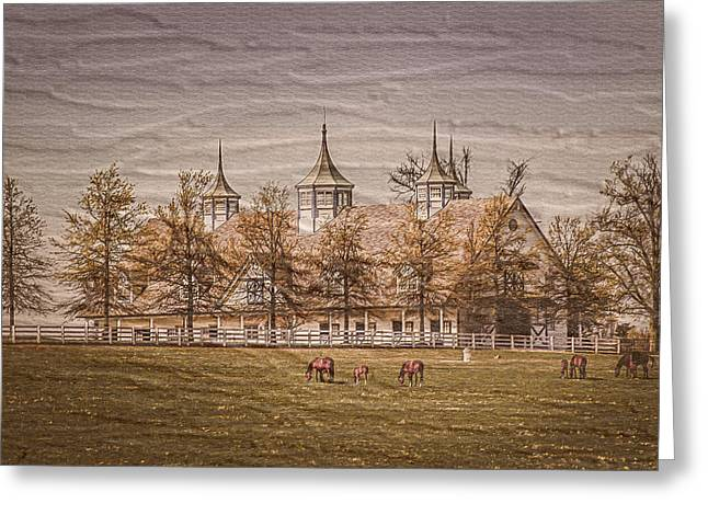 Keeneland Farm Photoart Greeting Card by Randall Branham