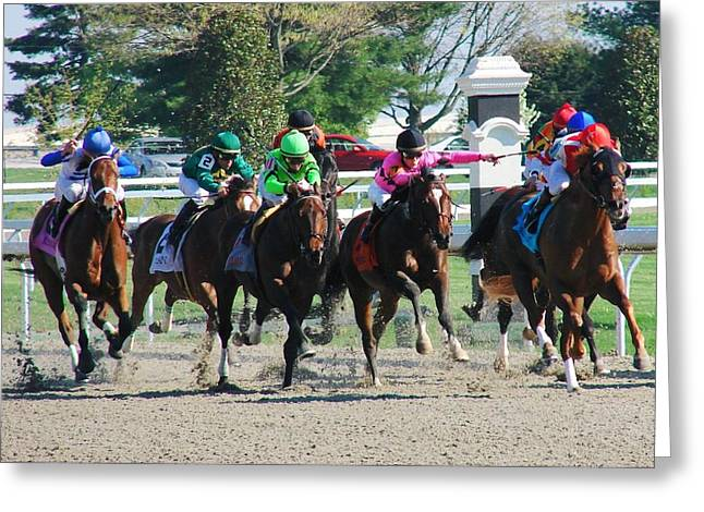 Keeneland Greeting Cards - Keeneland Run Greeting Card by Mia Capretta