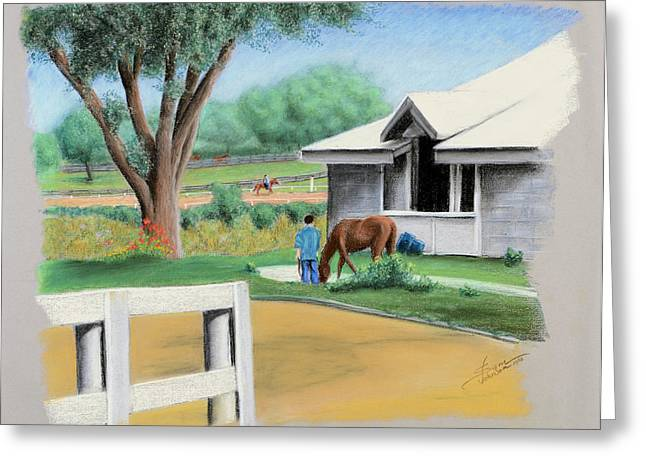 Keeneland Pastels Greeting Cards - Keenland Paddock Greeting Card by Sam Johnson