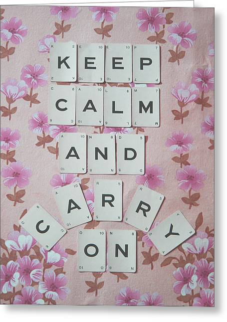 Scrabble Greeting Cards - Keep Calm and Carry On Greeting Card by Nomad Art And  Design