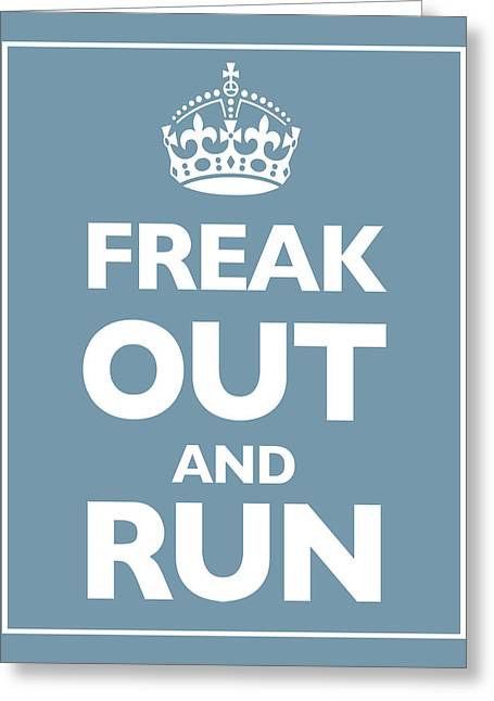 Posters On Mixed Media Greeting Cards - Keep Calm and Carry On Parody Blue Greeting Card by Tony Rubino