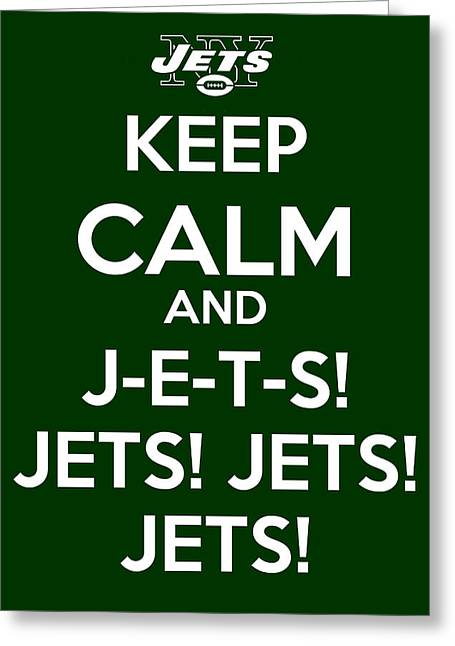 Ny Jets Logo Greeting Cards - Keep Calm and JETS Greeting Card by James Kirkikis