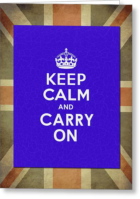 Carry Greeting Cards - Keep Calm Blue Greeting Card by Mark Rogan