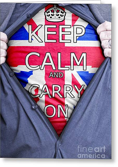 T Shirts Greeting Cards - Keep Calm Businessman Greeting Card by Antony McAulay