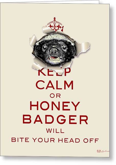 Spoof Greeting Cards - Keep Calm or Honey Badger... Red on Beige  Greeting Card by Serge Averbukh