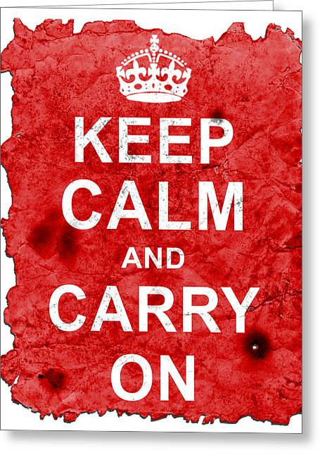 Keep Calm Poster Torn Greeting Card by Nik Helbig