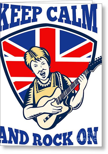 Rocker Digital Art Greeting Cards - Keep Calm Rock On British Flag Queen Granny Guitar Greeting Card by Aloysius Patrimonio