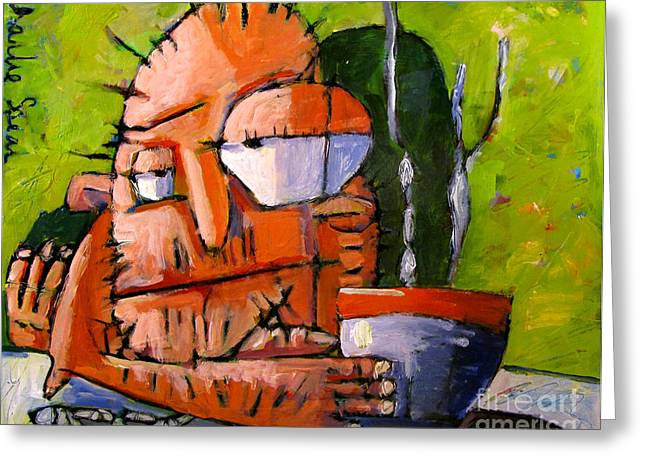 Coffee Drinking Paintings Greeting Cards - Keep Em Coming No3 from series That Coffee Thing Greeting Card by Charlie Spear