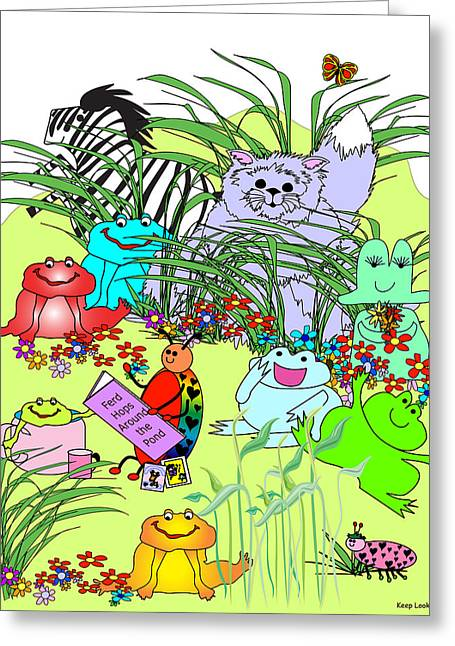 Huckleberry Digital Art Greeting Cards - Keep Looking 3 - Lacy Ladybug Reads Greeting Card by Chris Morningforest