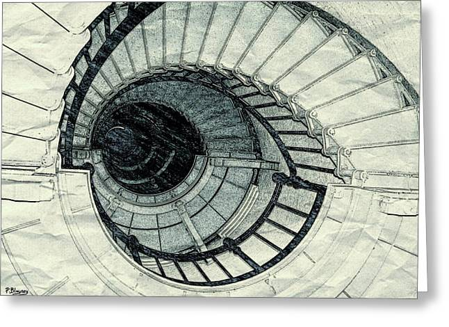 Spiral Staircase Mixed Media Greeting Cards - Keep on Climbing Greeting Card by Pamela Blayney