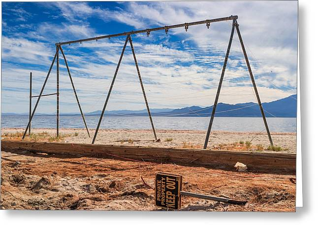 Keep Out No Playing Here Swing Set Playground Greeting Card by Scott Campbell