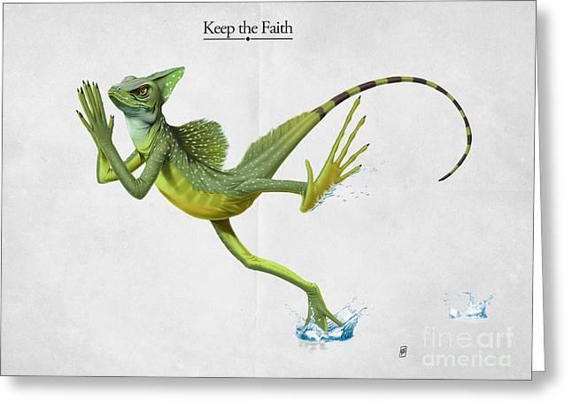 Lizard Illustration Greeting Cards - Keep the Faith Greeting Card by Rob Snow