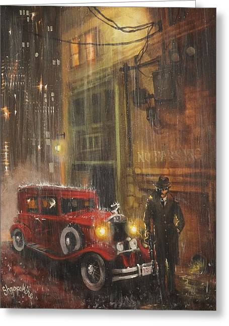 Mobsters Greeting Cards - Keep the Motor Running Greeting Card by Tom Shropshire