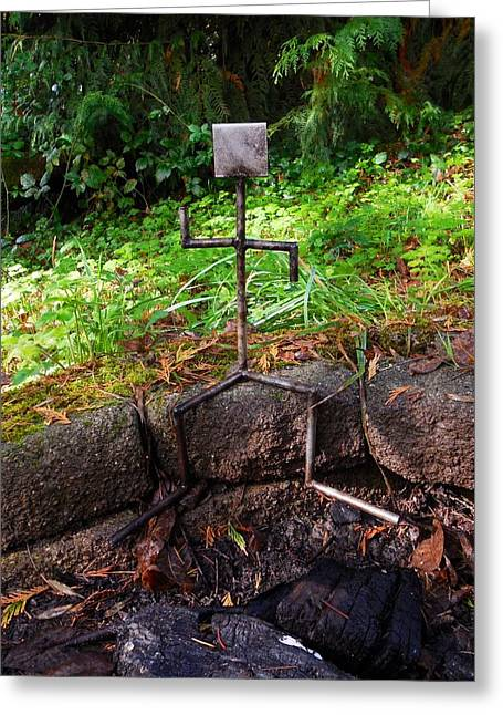 Firepit Greeting Cards - Keeper of the Firepit Greeting Card by Teresa A Lang