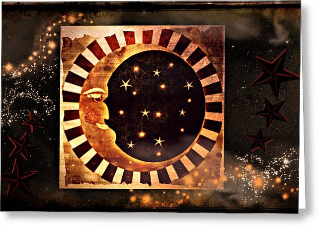 Man In The Moon Greeting Cards - Keeper of the Stars Greeting Card by Sherry Flaker