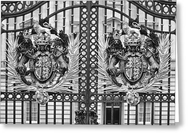 British Royalty Greeting Cards - Keepers of the Gate BW Greeting Card by Christi Kraft