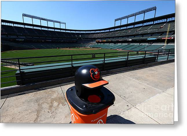 Baltimore Baseball Parks Greeting Cards - Keeping Oriole Park Tidy Greeting Card by James Brunker