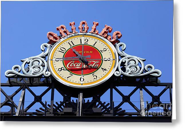 Baltimore Baseball Parks Greeting Cards - Keeping Time at Oriole Park Greeting Card by James Brunker