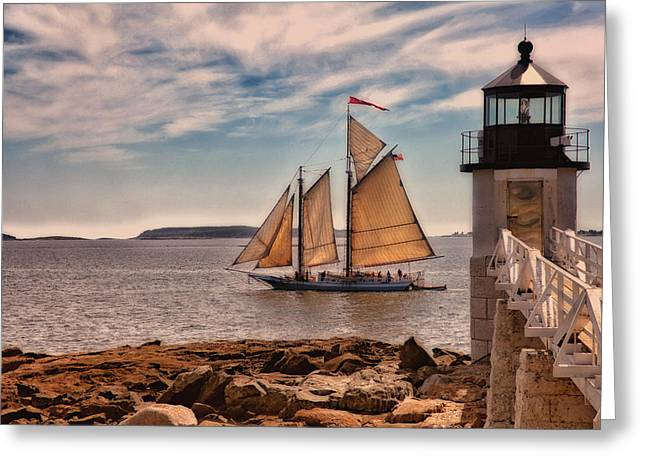 Recently Sold -  - Schooner Greeting Cards - Keeping Vessels Safe Greeting Card by Karol  Livote