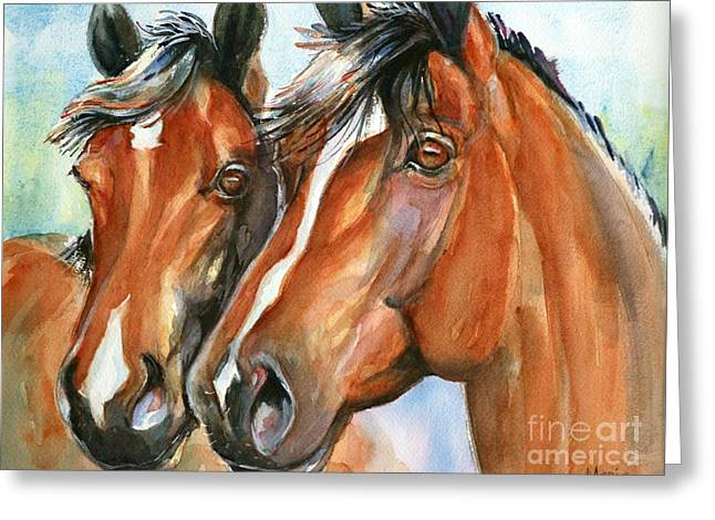 Quarter Horse Greeting Cards - Horse painting Keeping Watch Greeting Card by Maria
