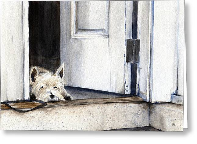 Guard Dog Greeting Cards - Keeping Watch Greeting Card by Michelle Sheppard