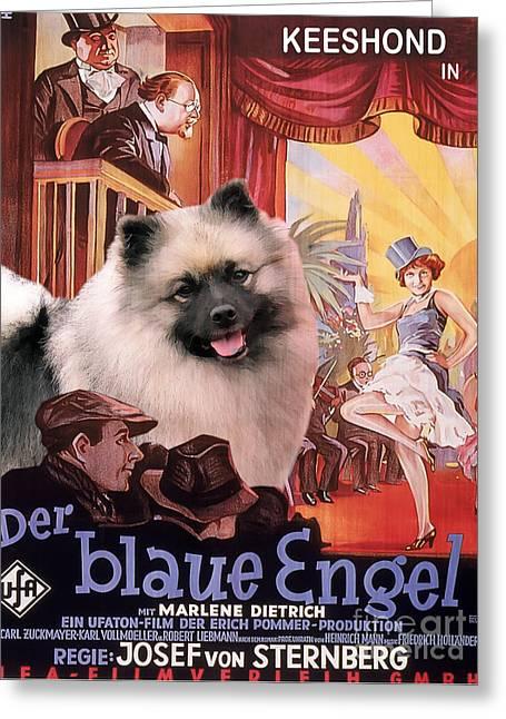 Engels Greeting Cards - Keeshond Art Canvas Print - Der Blaue Engel Movie Poster Greeting Card by Sandra Sij