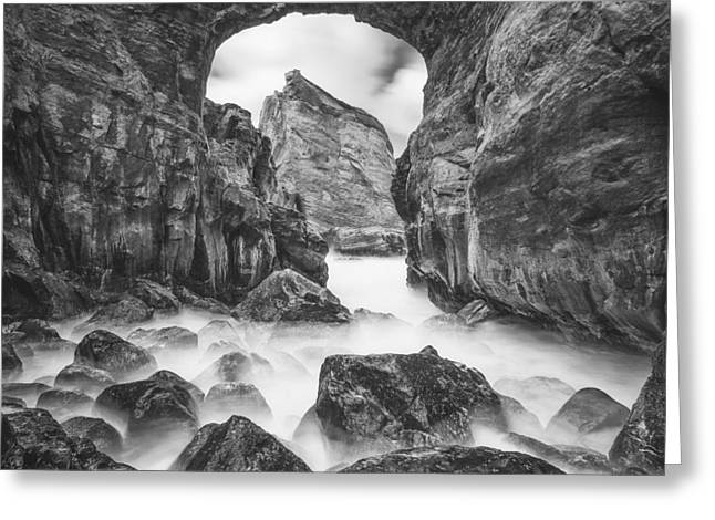 Ocean Black And White Prints Greeting Cards - Kehole Arch Greeting Card by Darren  White