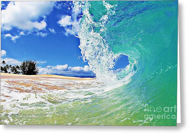 Surfing Art Greeting Cards - Keiki Beach Wave Greeting Card by Paul Topp
