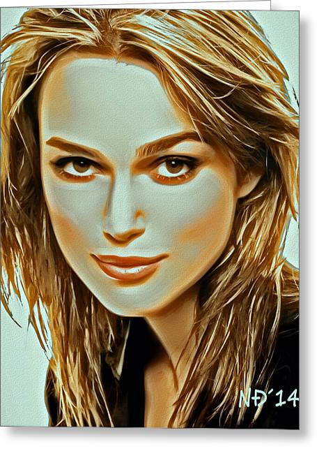 Lucent Dreaming Greeting Cards - Keira Knightley - Acrylic Greeting Card by Nikola Durdevic