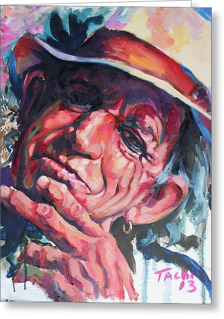 Keith Richards Paintings Greeting Cards - Keith - A Greeting Card by Tachi Pintor