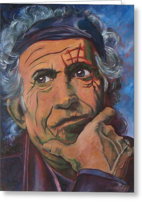 Keith Richards Paintings Greeting Cards - Keith Greeting Card by Christina Clare