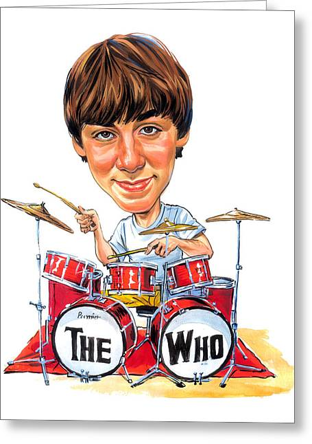 Moon Smiling Greeting Cards - Keith Moon Greeting Card by Art